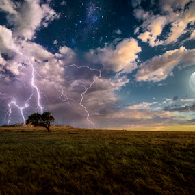 Etherial Storm by Phil Hanna - Digital Art Places ( clouds, milkyway, lightning, moon, tree, blue, stars, sunset, twilight, night, yellow, storm, milky way )