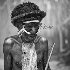 Dani Tribe by Oktobernardi Salam - People Portraits of Men ( portraiture, blackandwhite, black and white, tribe, papua, men, dani, tribal, photography, portrait )