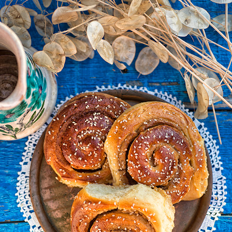 Sweet And Sticky Honey Tahini Buns