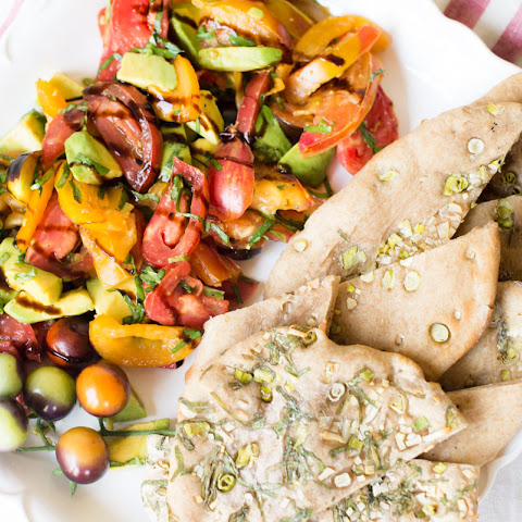 Heirloom Tomato and Avocado Salad and Garlic Herb Naan