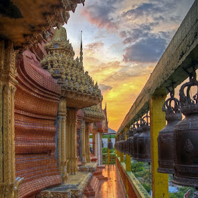 Wat near Kanchanaburi by Reinhard Latzke - Buildings & Architecture Statues & Monuments ( temple, sunset, bells )