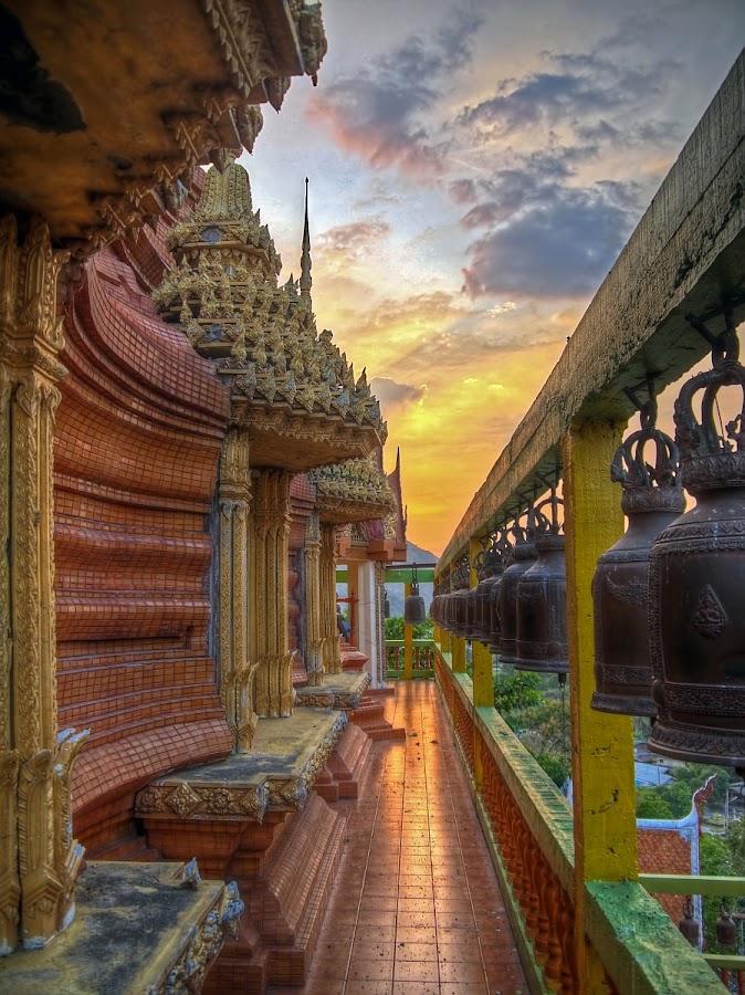 Wat near Kanchanaburi by Reinhard Latzke - Buildings & Architecture Statues & Monuments ( temple, sunset, bells )