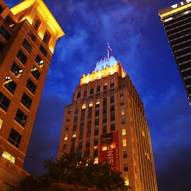 Winston-Salem, NC skyline - Reynolds' Building by Michelle Nichols - Landscapes Travel ( skyline, nc, night time, reynolds building, winston-'salem )