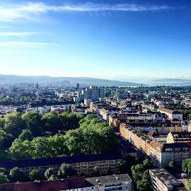 Zürich from above by Renato Strassmann - City,  Street & Park  City Parks ( zürich city park sunshine hardturm hardtowerd )