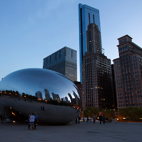 the bean at chicago by Cristobal Garciaferro Rubio - City,  Street & Park  City Parks ( bean, park, blue hour, millenium park, chicago )