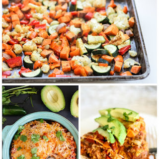 Layered Roasted Veggie, Sweet Potato & Black Bean Tortilla Pie (+ homemade enchilada sauce!)