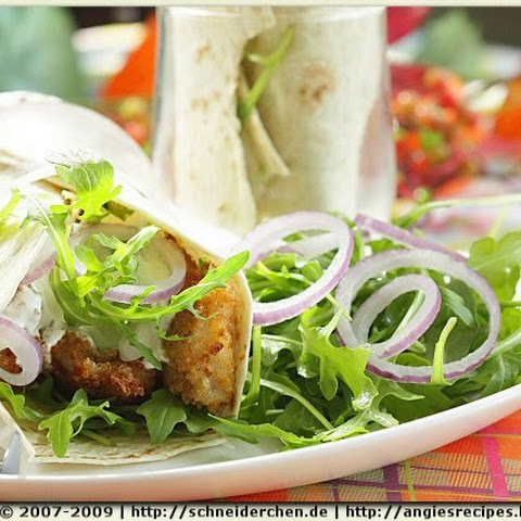 Fish Wraps with Tzatziki and Rocket Salad