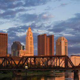 Sunset from North Bank Park by Chuck Campbell - City,  Street & Park  Skylines ( skyline, columbus oh, sunset, bridge, cityscape, river )