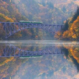 Autumn Journey by Nyoman Sundra - Transportation Trains ( reflection, japan, village, train, transportation, fukushima )