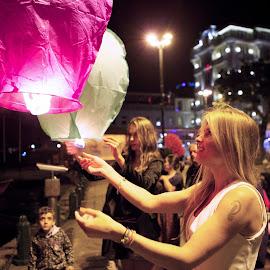watching the balloon by Mike Mulligan - People Street & Candids ( sky lantern, turkey, istanbul, travel, boy )