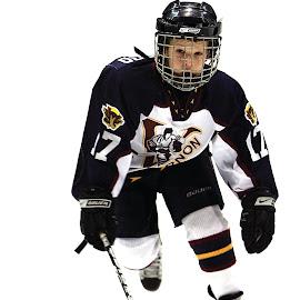 Midget Hockey by Keith Johnston - Sports & Fitness American and Canadian football ( hockey, player, skates, ice, hockey stick, action, sports, skating, helmet )