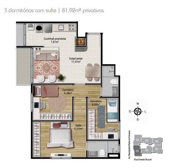 Planta 3 dormitórios - Final 1