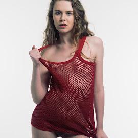 Jessica vested by Mark Wood - Nudes & Boudoir Artistic Nude ( blonde, model, string vest, nude, bush, singlet, white background, vest )