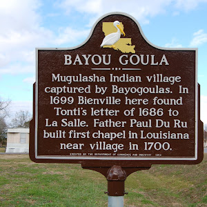 Mugulasha Indian village captured by Bayogoulas. In 1699 Bienville here found Tonti's letter of 1686 to La Salle. Father Paul Du Ru built first chapel in Louisiana near village in 1700.