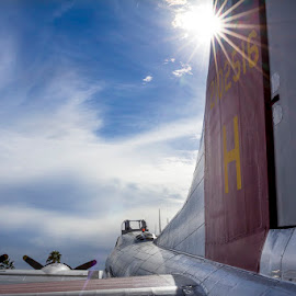 B52 by Rhonda Royse - Transportation Airplanes ( flying, b52, airplane, b52 bomber, sunlight )