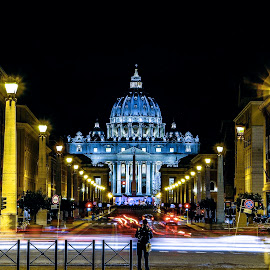 Vatican City by Night by Emanuele Zallocco - City,  Street & Park  Night ( catholic, church, rome, cathedral, night, long exposure, vatican, square, basilica, light, pope )