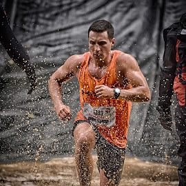 Strong Jeff by Marco Bertamé - Sports & Fitness Other Sports ( water, orange, differdange, splash, splatter, 2015, concentrated, jeff, number, soup, running, luxembourg, muddy, 1803, strong, determined, brown, strongmanrun, man )