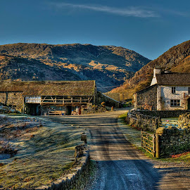 Final image for today, Yew Tree Farm, Coniston. Farmhouse built in 1693 with a ' spinning gallery ' and a home belonging to Beatrix Potter in the 1930's.  Image taken a couple of years ago on a frosty November evening. by Alex Bradley - Landscapes Mountains & Hills