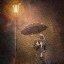not singing anymore  by Kevin Baxter - Digital Art People ( water, male, lamp, raindrops, waterdrops, storm, lamp post, lamp posts, man, rain, water drop )