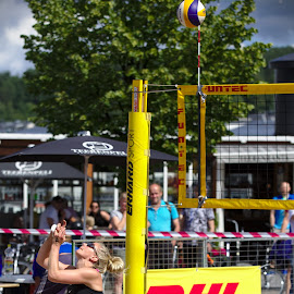 Beach volley by Simo Järvinen - Sports & Fitness Other Sports ( sand, ball, volleyball, woman, outdoor, beach volley, sports, spectators )