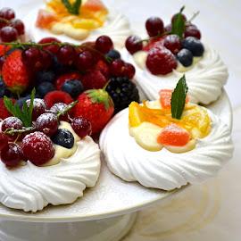 Fruit frenzy by Heather Aplin - Food & Drink Candy & Dessert ( orange, fruit, custard, blueberry, raspberry, nest, icing, mint, leaf, strawberry, cream, meringue, vanilla, sugar, dessert, lemon )