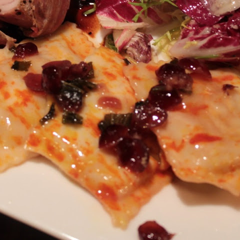 Pumpkin & Sage Ravioli With Sage-cranberry-butter Sauce