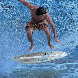 Airborne by Greg Knudsen - Sports & Fitness Surfing ( knudsen, surfing, honolulu, skimboarding, beach, hawaii )
