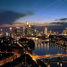 Frankfurt at Night by Maria Ioana - City,  Street & Park  Skylines ( frankfurt at night )