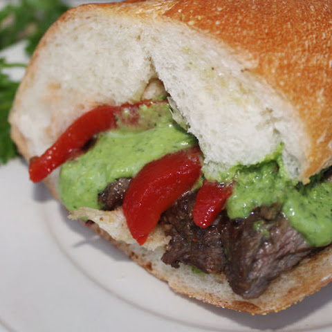 Skirt Steak Sandwich with Chimichurri Sauce and Roasted Peppers