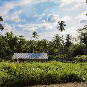 Getaway by Yi Xuan Lee - Backgrounds Nature ( field, pualu ubin, nature, getaway, house )