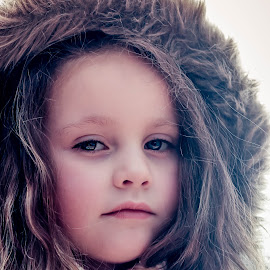 by Elizabeth Robinson - Babies & Children Child Portraits ( little girl, winter, serious, fur hood )