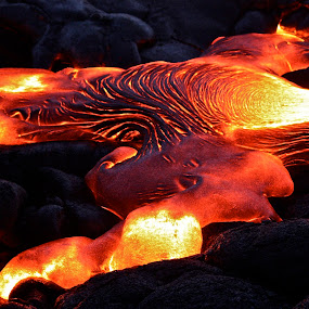 Fresh Lava by Venetia Featherstone-Witty - Nature Up Close Rock & Stone ( close-up hot lava, pele lava, colors, object, landscape, portrait, lava, color, fiery lava, filter forge, earth forming lava, hot lava, world_is_red,  )