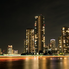Tsukishima, Tokyo by Devin Takahashi - Landscapes Travel ( tokyo, japan, travel, lights, light trail )