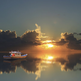 silent sunset by Robby Montolalu - Digital Art Places ( sangihe, sunset, boat, digital arts, tahuna )