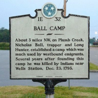 1E 32BALL CAMPAbout 3 miles NW, on Plumb Creek,Nicholas Ball, trapper and LongHunter, established a camp which wasused by westbound emigrants.Several years after founding thiscamp he was killed by ...