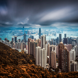 Clouds Attack by Oyi Kresnamurti - City,  Street & Park  Skylines ( clouds, hongkong, peak, cityscape, slow speed,  )