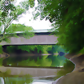 Gorham Covered Bridge by Thomas Pound - Digital Art Places ( water, florence vermont, watercolor, reflection, covered bridge, green, trees, vermont )