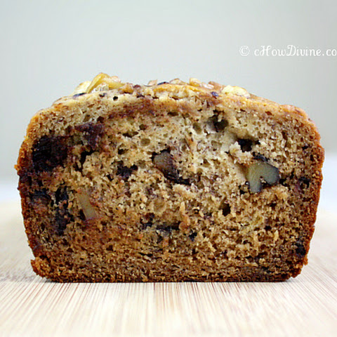 Gluten-Free Dark Chocolate Chunk and Walnut Banana Bread