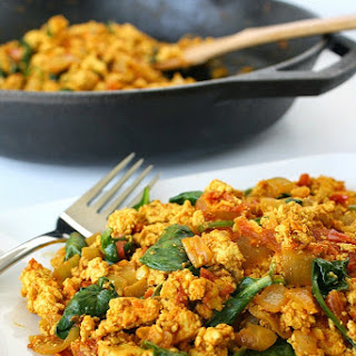 Tofu Scramble with Spinach and Tomato
