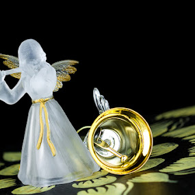 Angel with a bell by Ina Pandora - Artistic Objects Other Objects ( angel, bell, yellow white, gold )