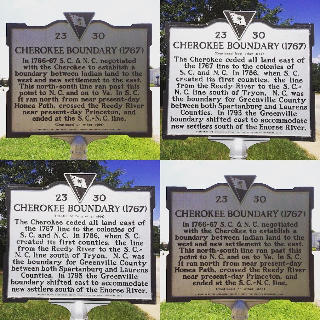 23 30 CHEROKEE BOUNDARY (1767) In 1766-67 S.C. & N.C. negotiated with the Cherokee to establish a boundary between Indian land to the west and new settlement to the east. This north-south line ran ...