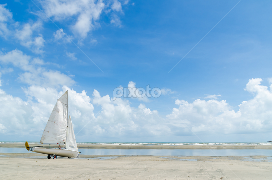 Windsurf Boat by Shahril Khmd - Transportation Boats ( wind, sand, reflection, sky, winsurf, surfing, beach, surf, boat, skies )