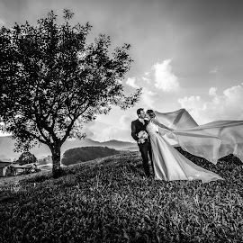 Alice e Marco by Mauro Locatelli - Wedding Bride & Groom ( kiss, mauro locatelli matrimoni, wedding photography, romantic wedding, black and white )