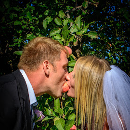 Tempting apple by Darrin Halstead - Wedding Bride & Groom ( married, apple, wedding, bride, marriage, groom )