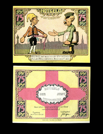 On this paper money a tax official is shown asking Deutscher Michel (the personification of Germany) for money. The message reads, 'The money must be taken from the people, you can't shake it from the trees.' The role of the state in the levying and collection of taxes is central to the public's relationship with government.