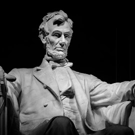 Abe Lincoln by Rob Clark - Buildings & Architecture Statues & Monuments ( abraham lincoln, statue, abe lincoln, lighting, black and white, mood, lincoln memorial, shading, washington dc, national mall )