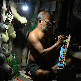 Concentration by Subhajit Biswas - People Portraits of Men ( kolkata, artist, painting, concentration, kumartuli, india, durga puja )
