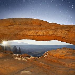 Moonshine by Craig Bill - Travel Locations Landmarks ( moon, sky, stars, mesa arch, nightscape,  )