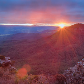 Blue Mountains at Sunset 2 by James Wildbore - Landscapes Sunsets & Sunrises ( cahil's lookout, hdr bracketed, hdr, australia, blue mountains, photoshop )