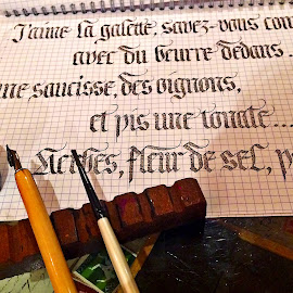 Caligraphy by Dobrin Anca - Instagram & Mobile iPhone ( market, sunset, brittany, letters, pencils )